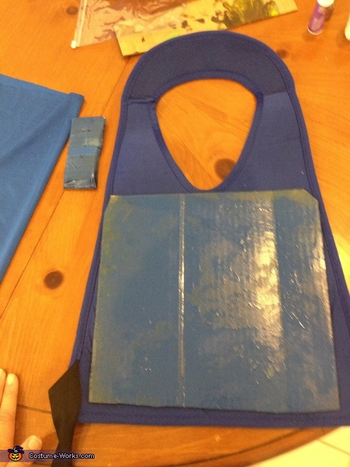 Sprays intend cardboard and attached it to form body, Lego Ninjago Jay Costume