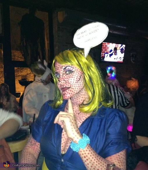 Though bubble washed out!, Lichtenstein Pop Art Lady Costume