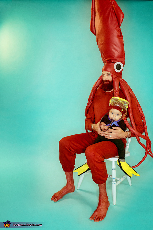 Life Aquatic with Jacques Cousteau Baby Scuba Diver, The Ocean, and Giant Squid, Life Aquatic Family Costume
