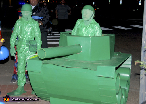 Green Army Men Take Over Downtown Portsmouth, Life Size Green Army Men in a Tank Costume