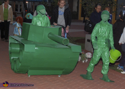 Even Green Army Men Love Candy, Life Size Green Army Men in a Tank Costume