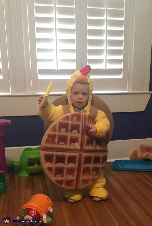 Without butta!!!!  Kept pulling the butter off ;), Lil Chicken and Waffles Costume