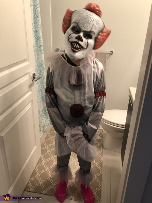 Costume with mask before alterations, Lil Pennywise Costume