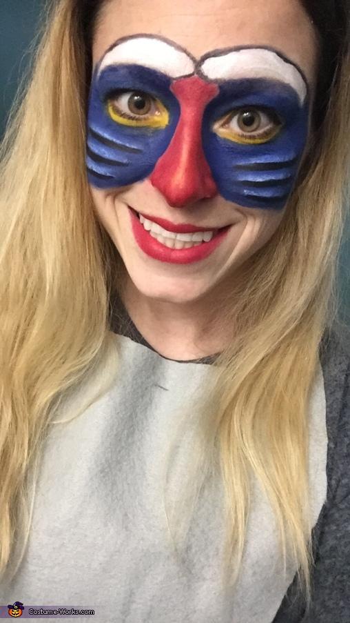 Close up of face paint, Lion King's Rafiki Costume