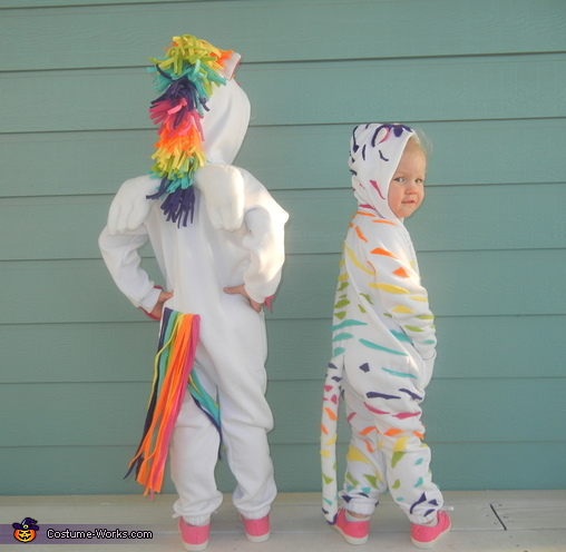 Lisa Frank's Markie The Unicorn and The rainbow white tiger, Lisa Frank Crew Costume