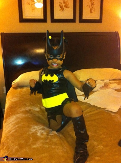 Bat Woman's Warrior Pose, Little Bat Woman Costume