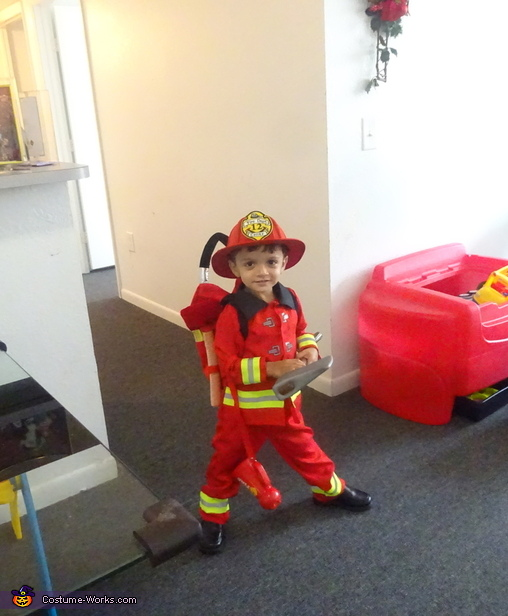 Ready for action, Little Boy Fireman Costume