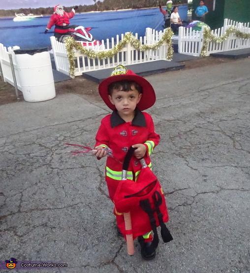 Sweet fireman got candy, Little Boy Fireman Costume