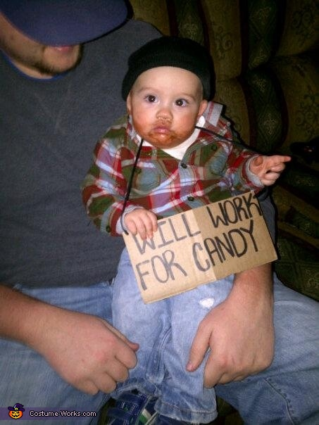 Little hobo baby halloween costume for Easy homemade costume ideas for kids