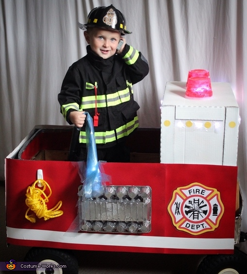 Little Firefighter and His Truck Homemade Costume