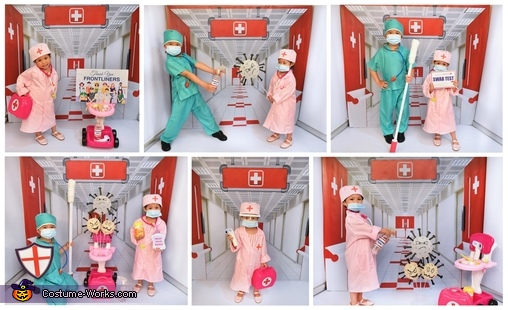 Halloween COVID Pandemic Theme Collage, Little Frontliners Costume
