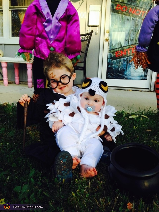 Chase and Liam as Harry and Hedwig, Little Harry Potter Costume