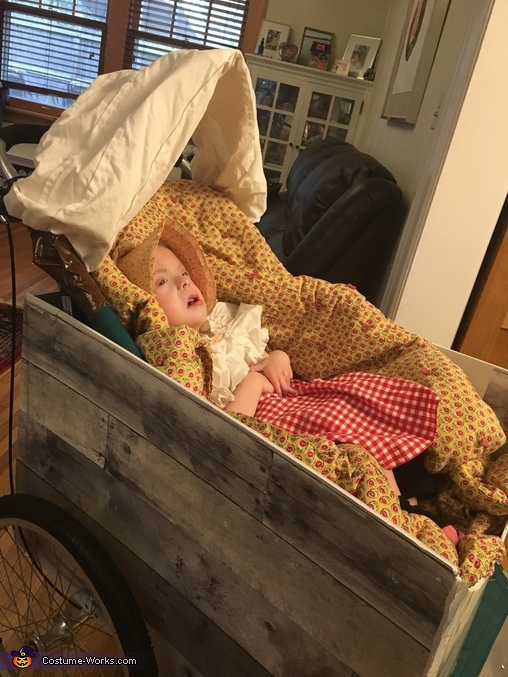 Mary in her covered wagon, Little House on the Prairie Family Costume