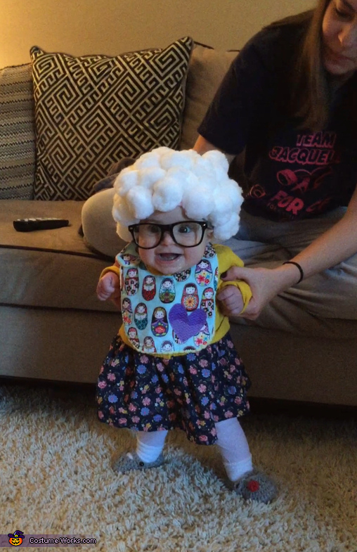 A bib was unavoidable with all the drool! But still tried to stick with an 'old lady' theme, Little Old Lady Costume