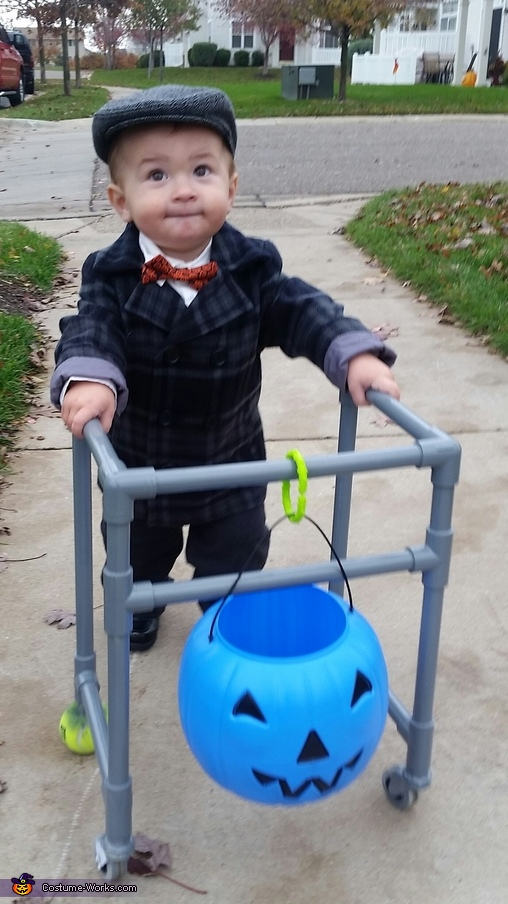 enjoying his walker, DIY Little Old Man Costume
