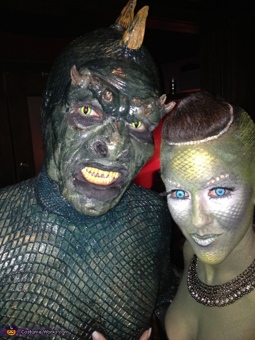 Close up. Lizard Man - Homemade costumes for couples