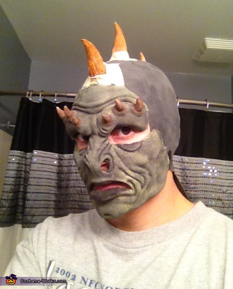 Checking to see that the face and horns go together...., Lizard Man Costume