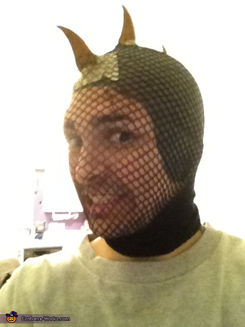 about to latex my head....., Lizard Man Costume
