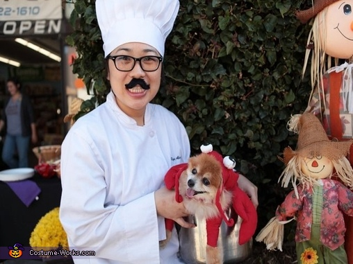 Happy and Chef Nguyen, Lobster Dog Costume