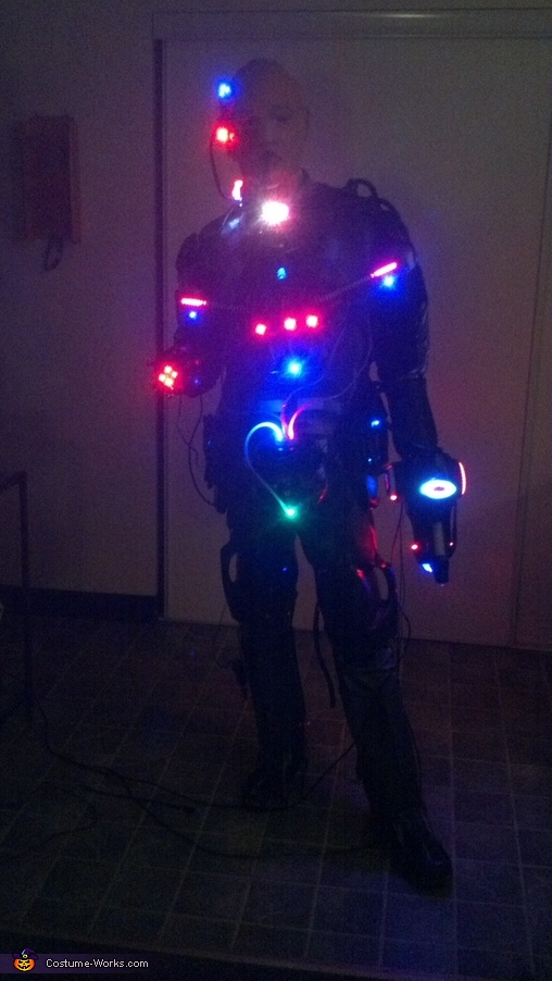 85% complete. Front view in the dark. Again missing the Blue LED strips for the boots., Locutus of Borg Costume
