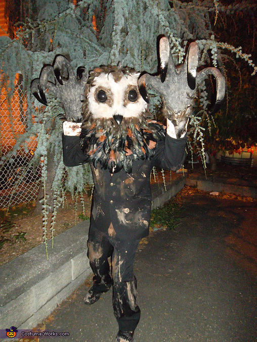 Photo shoot at an abandon lot, Lord of Tears Owlman Costume