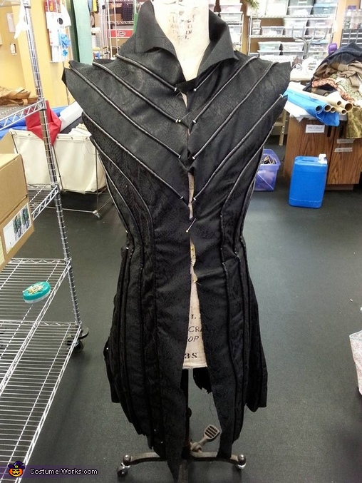 Detail of the front of the tunic, prior to sleeves and lining., Lord Thranduil, King of the Woodland Realm Costume