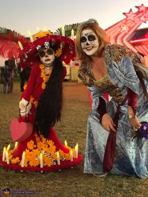 with Auntie Jen at the fair, Lucy as La Muerte Costume