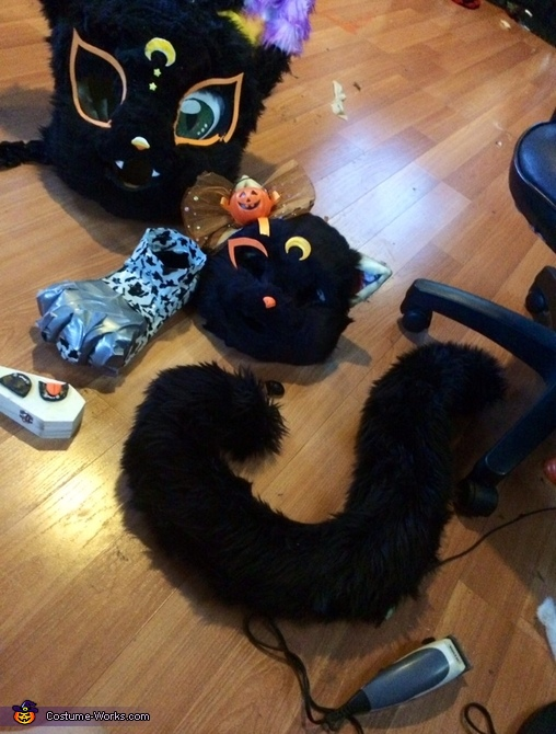 Tail and head ready for eyes. , Lucy Moon the Black Cat Costume