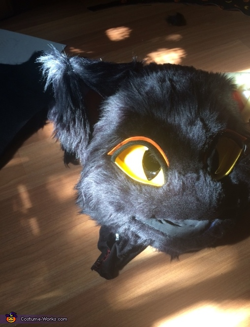 Eyes and furring the ears, Lucy Moon the Black Cat Costume