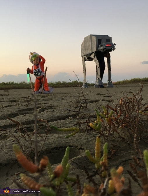 Distance shot of Luke and AT-AT, Luke Skywalker and AT-AT Costume