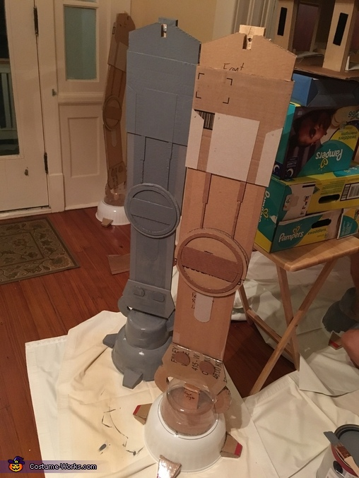 AT-AT legs in progress, Luke Skywalker and AT-AT Costume