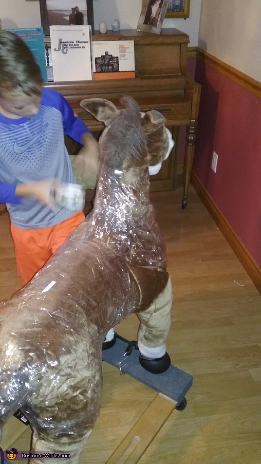 Using packing tape for a base, Luke Skywalker on Tauntaun Costume