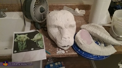 Adding plaster to head and horns, Luke Skywalker on Tauntaun Costume