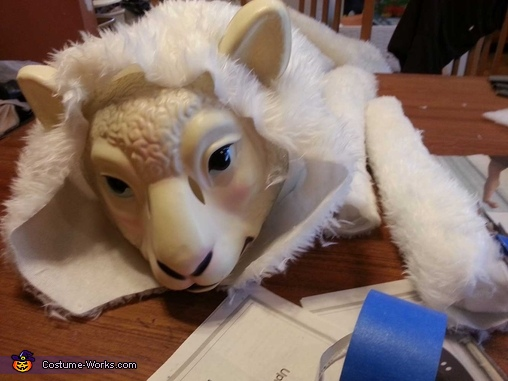 gluing arms on the tauntaun, mask not painted yet, Luke Skywalker riding a Tauntaun Costume