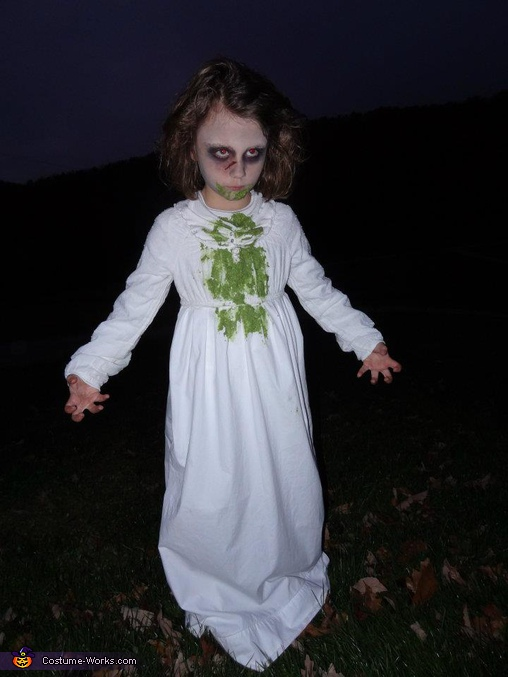 Luna as Regan, the Exorcist Girl. Horror Movies - Homemade costumes for kids
