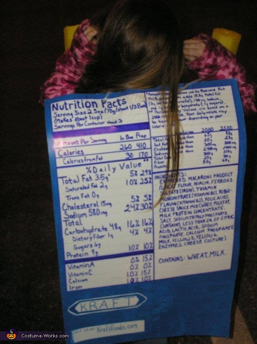 Back of costume ~ Nutrition Facts, Mac N Cheese Costume