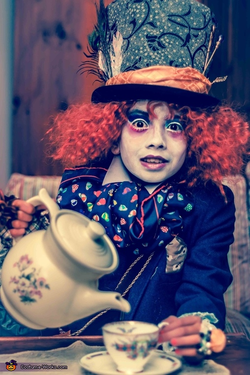 waist up with tea set, DIY Mad Hatter Costume