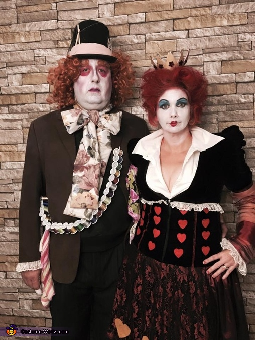completed costumes, Mad Hatter and Queen of Hearts Costume