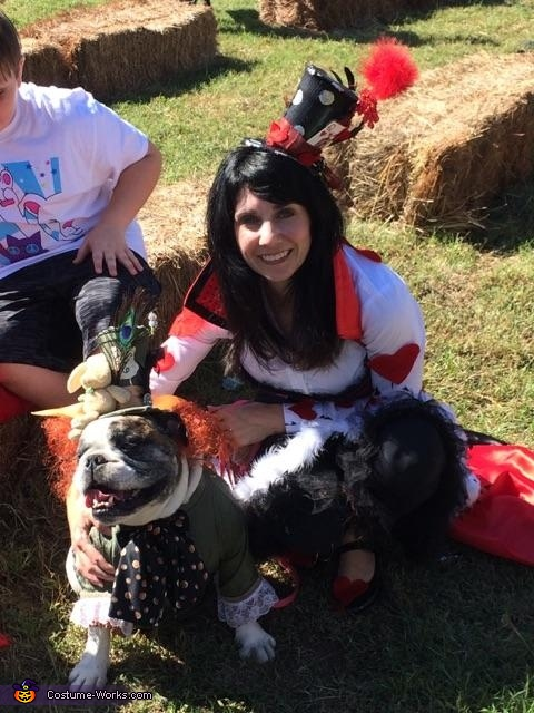 Zeelo and the Queen of Hearts together, Mad Hatter Dog Costume