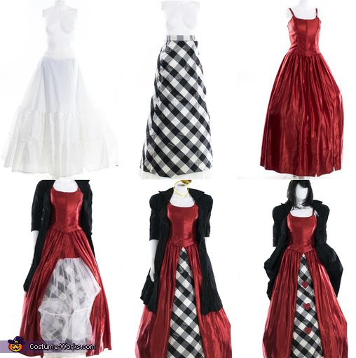 a few of our handmade details, Mad Hatter, Queen of Hearts and the White Rabbit Costume
