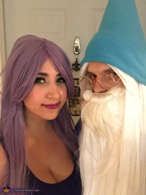 Closeup of beard/wig combo, Madame Mim and Merlin Costume