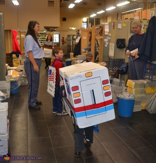 Mail Carrier and Postage Stamp Kids Homemade Costume