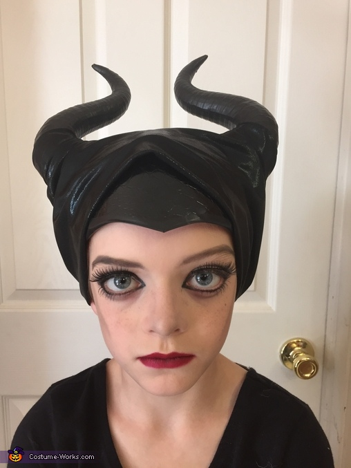 finished head piece and makeup, Maleficent Costume