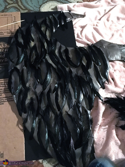 Placing Feathers, Maleficent Costume