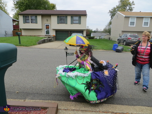 walking up the street, Mardi Gras Float Costume