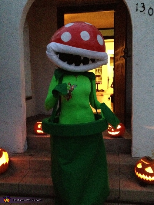 Awaiting trick or treaters, Mario Bros Piranha Plant Costume