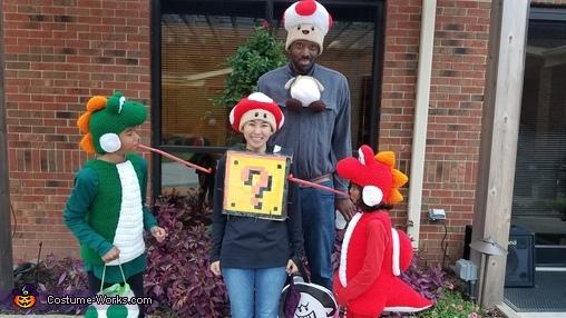 Red mushroom hat, Mario Family Costume