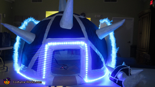 Front view w/ lights and hhelmet, Mario Kart Blue Turtle Shell Costume