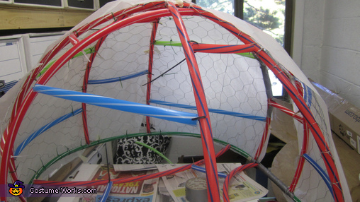 Framework and wire meshing, Mario Kart Blue Turtle Shell Costume