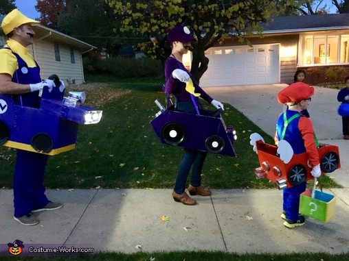 Mario Kart Family Homemade Costume
